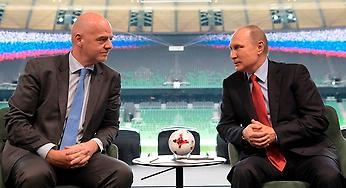 Fifa-bossen Gianni Infantino och ryske presidenten Vladimir Putin besökte akademin och arenan i maj.