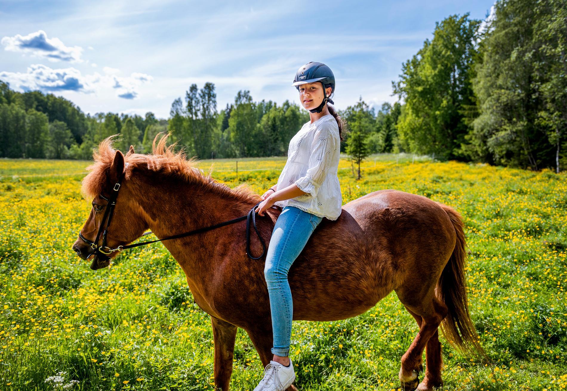 Amina, 13, och hästen Skuffa ett halvår efter mardrömsdagen i skogen.