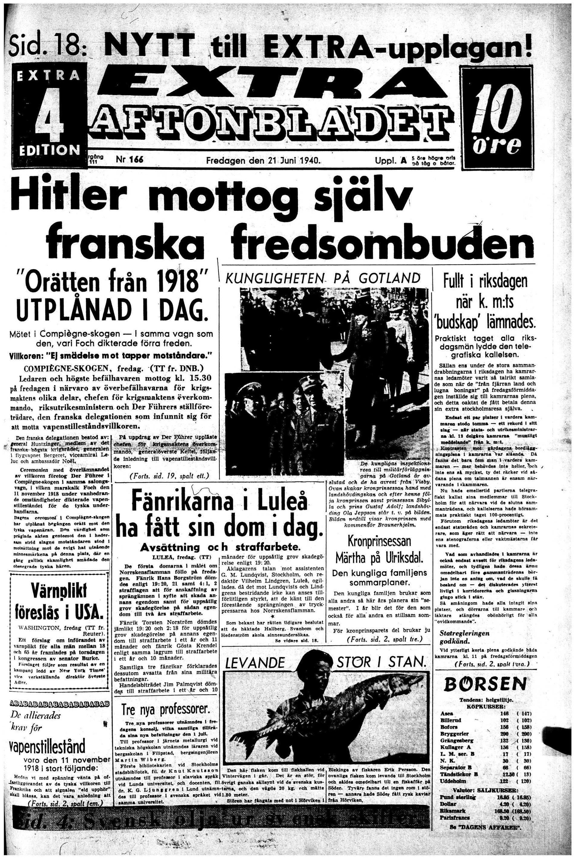 Aftonbladet förstasidan 21 juni 1940