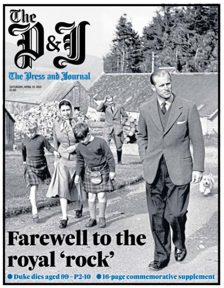 """Prins Philip gick i skola i Skottland. Här hyllas han i den skotska tidningen Aberdeen press and journal: """"Farväl till den kungliga klippan""""."""