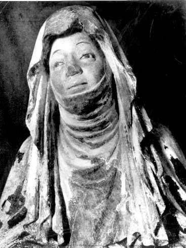 Heliga Birgitta, detalj av träskulptur från 1430.