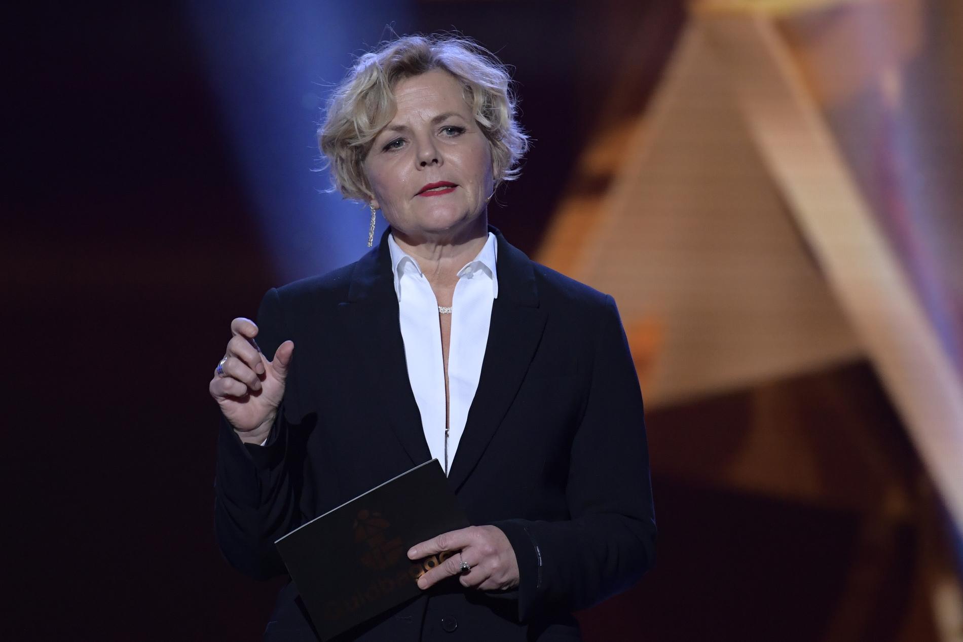Filminstitutets vd Anna Serner talar vid öppnandet av Guldbaggegalan 2019.
