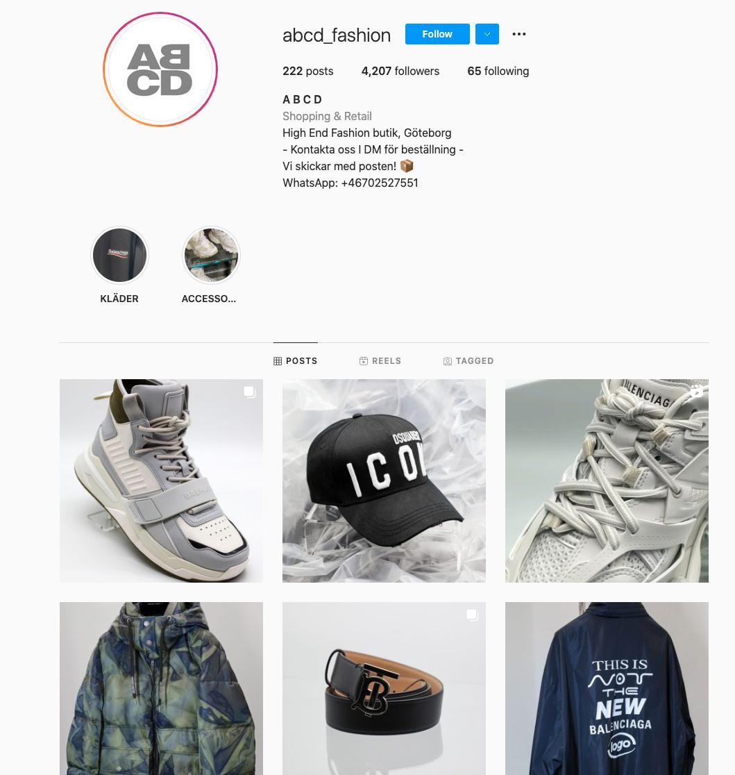 Skärmdump från ABCD:s Instagram.