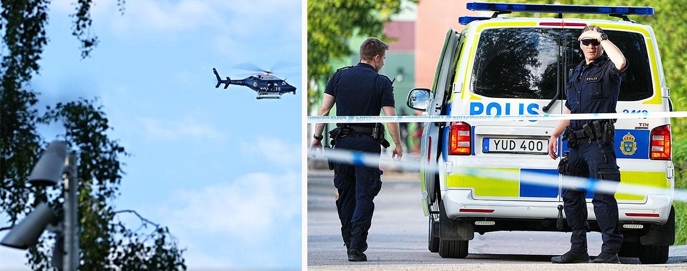 Polisen är på plats med en större insats, hundpatrull och helikopter.