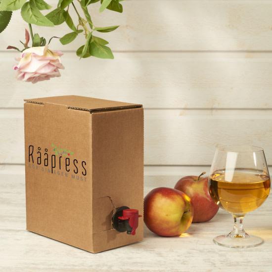 Bag-in-box-förpackning med tappkran till den egna äpplemusten eller cidern.