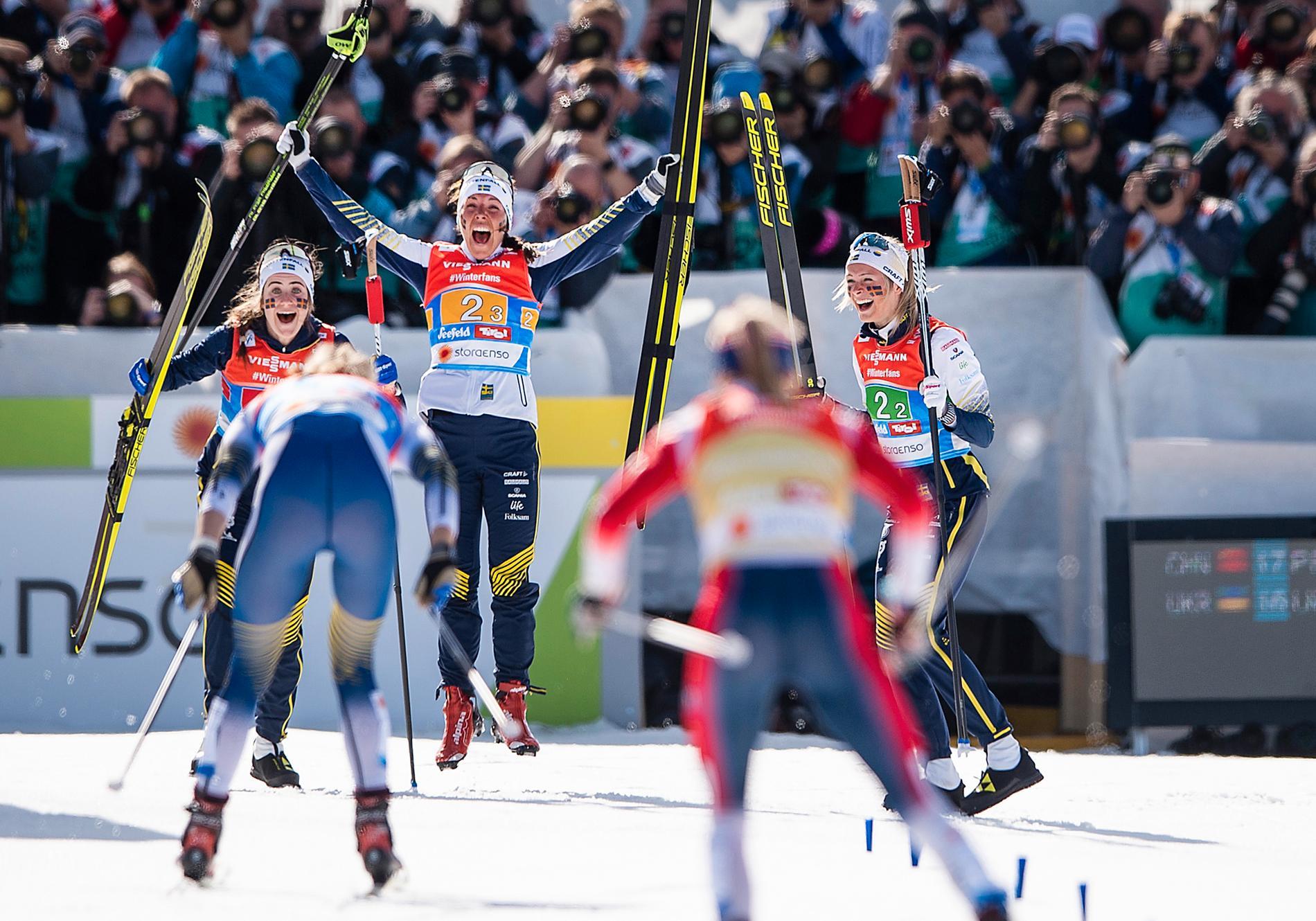 Ebba och Frida var båda med och vann stafettguldet på VM i fjol.