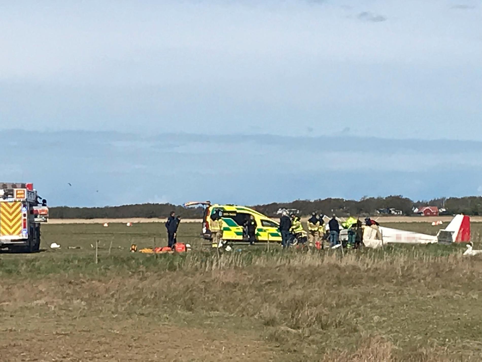 En olycka med ett mindre sportflygplan har inträffat i Varberg.
