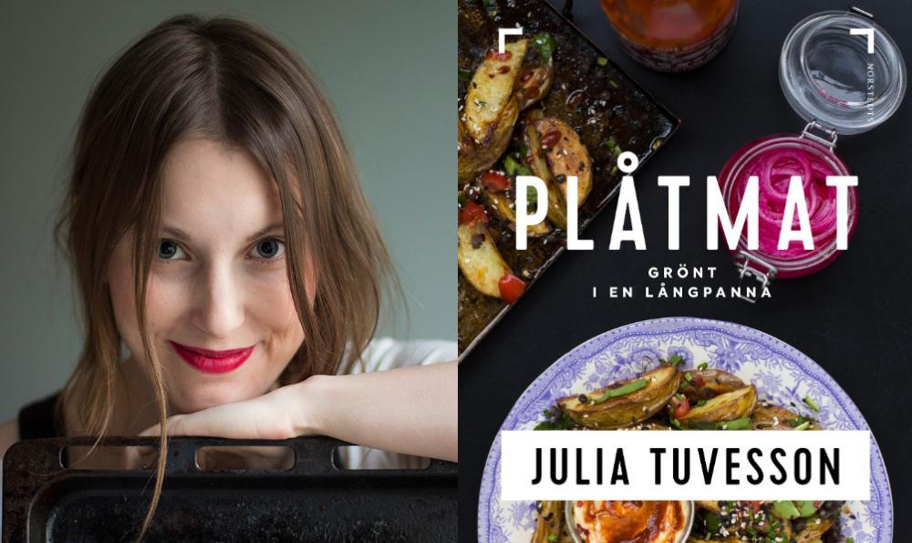 Julia Tuvesson med sin kokbok Plåtmat.