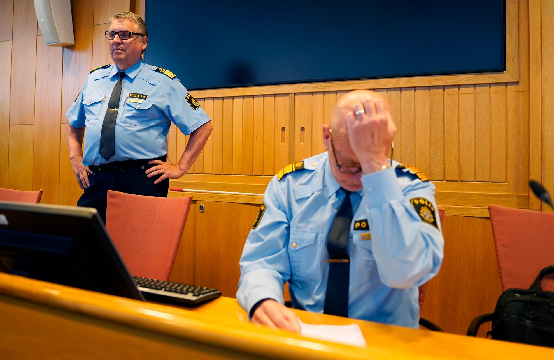Klas Johansson, regionpolischef i Väst, och Erik Nord, polisområdeschef i Storgöteborg.