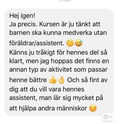 En av meddelandena som assistenten fick motta efter dansklassen.
