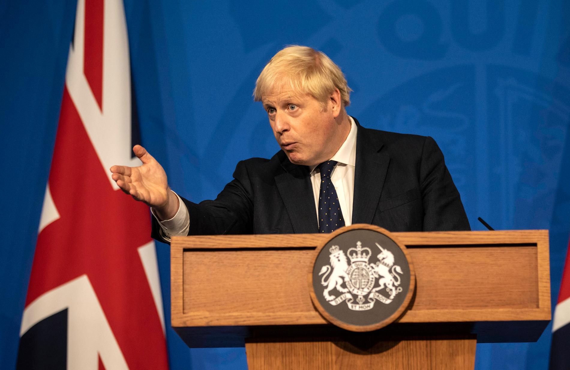 Boris Johnson på presskonferensen.