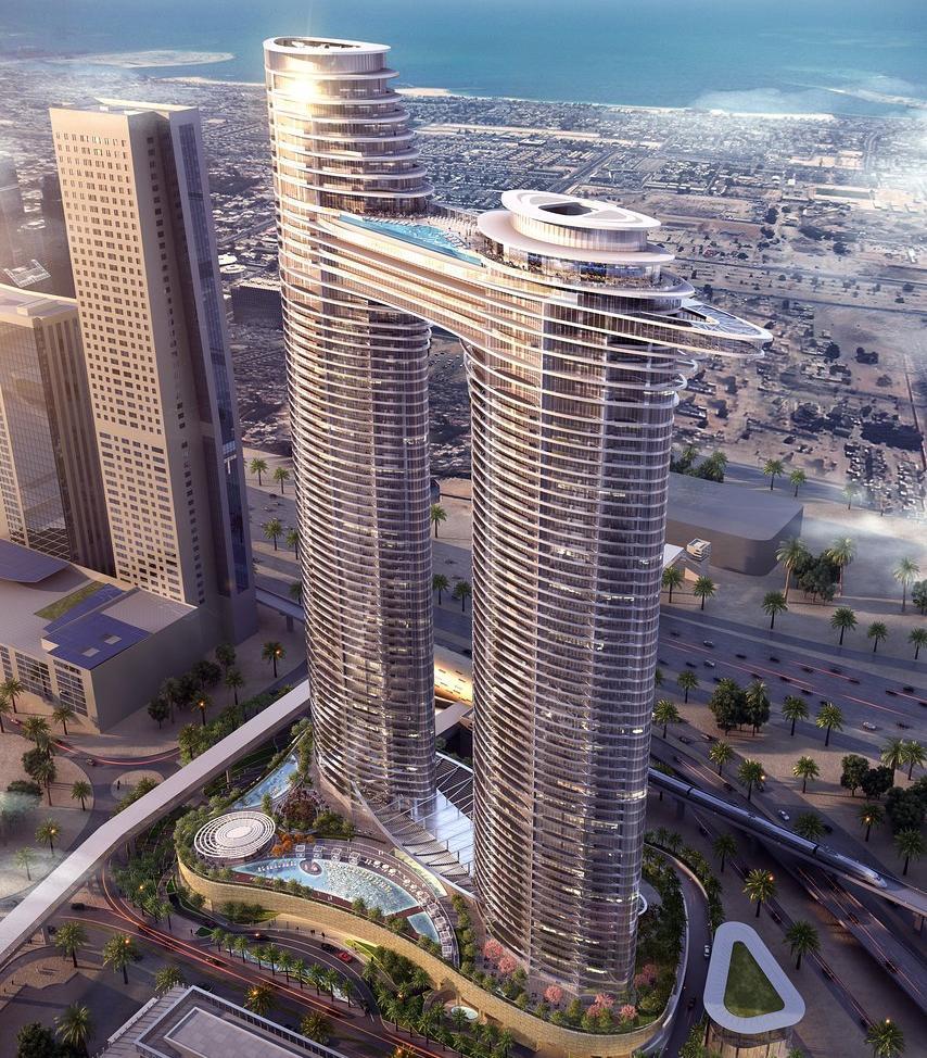 Address Sky View består av två torn sammankopplade med en bro.