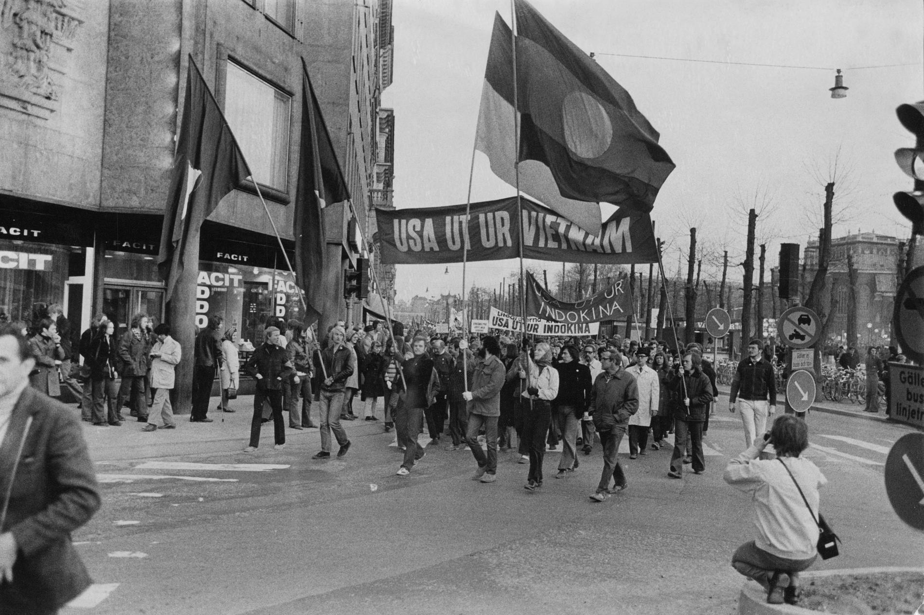 Demonstration mot USA:s krigsföring i Vietnam.