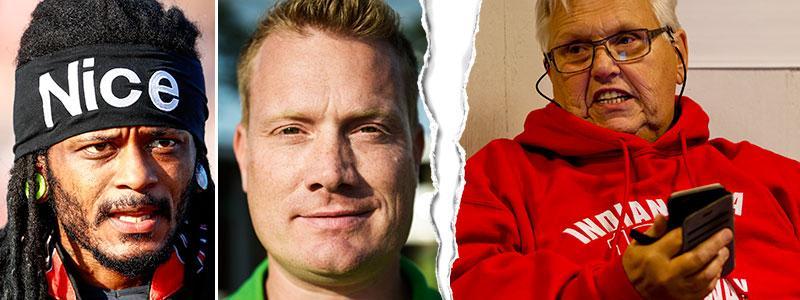 Antonio Lindbäck och hans manager Mattias Fahlström. Till höger  Indianernas ordförande Dan-Åke Moberg.