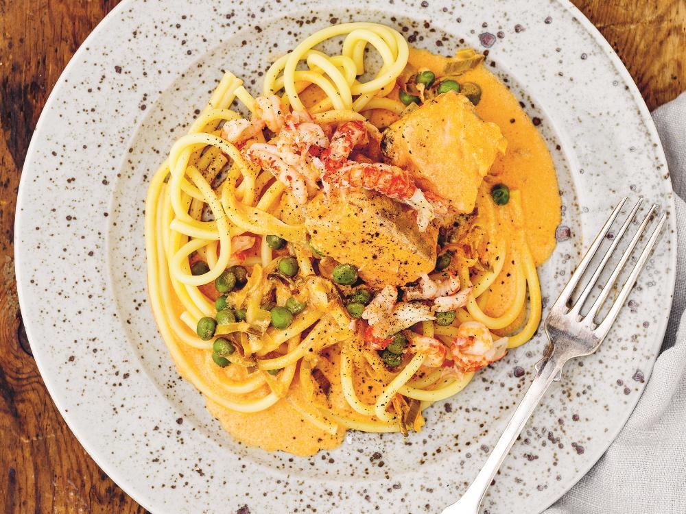 Laxgryta med pasta