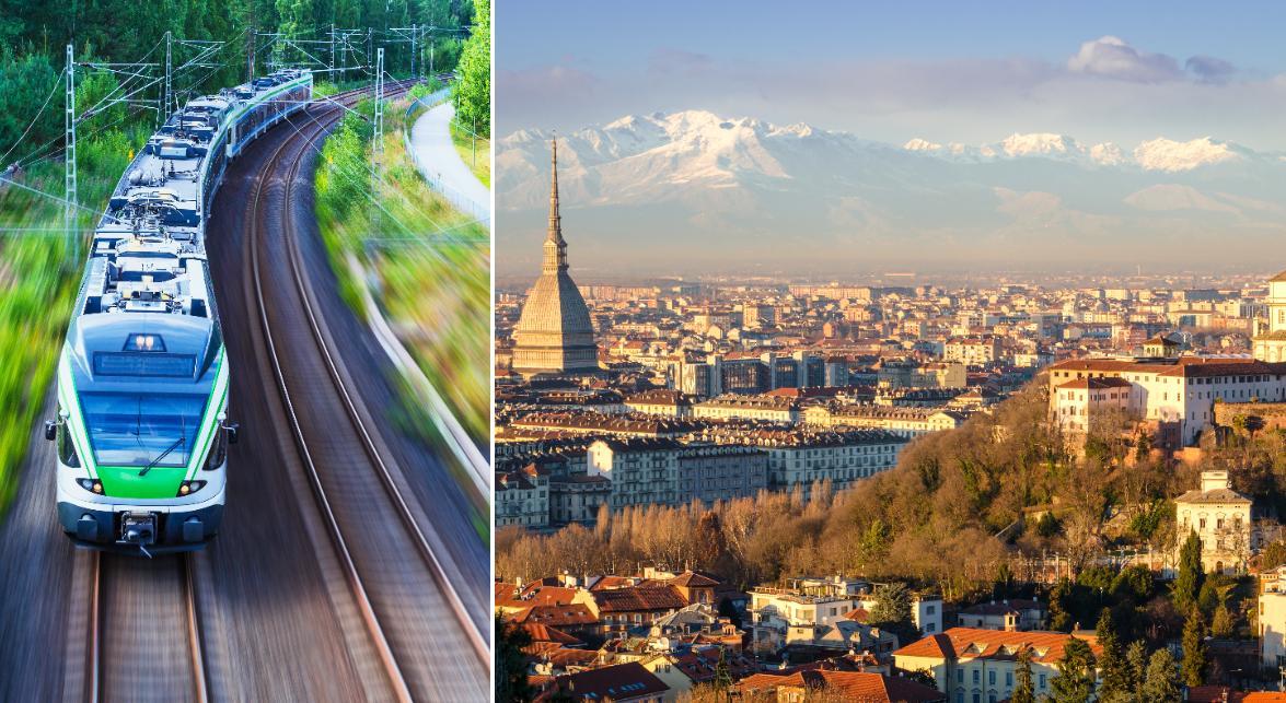 Tåget ska gå till Turin i norra Italien.