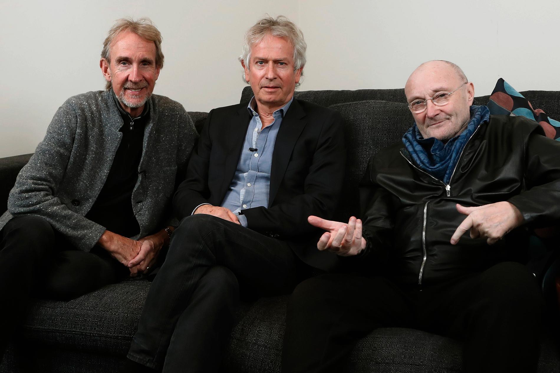 Mike Rutherford, Tony Banks och Phil Collins i Genesis. Arkivbild.