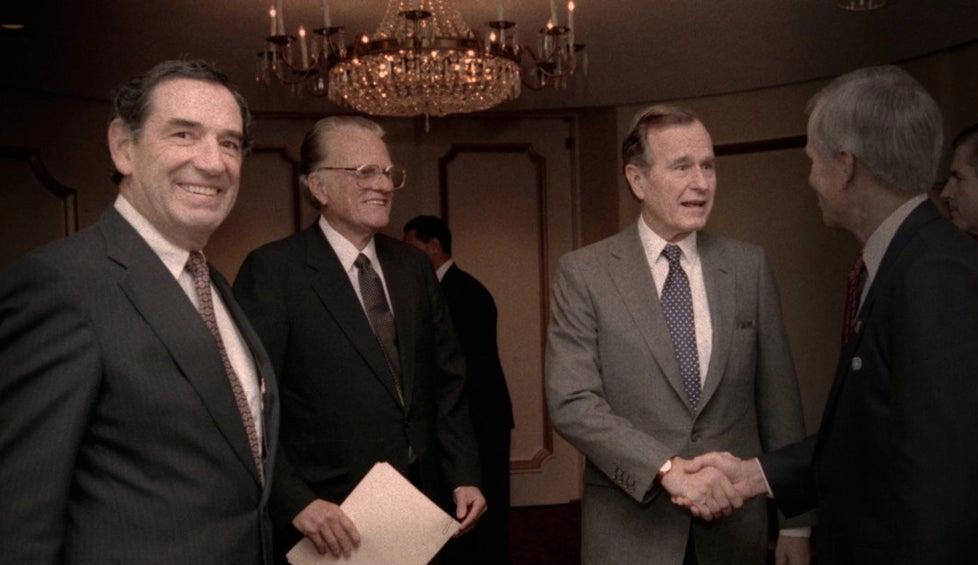 Familjen möter George Bush.