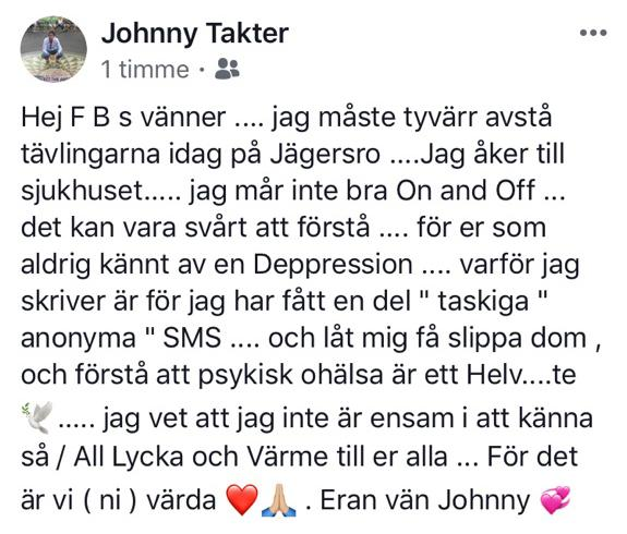 Johnny Takters inlägg på Facebook.