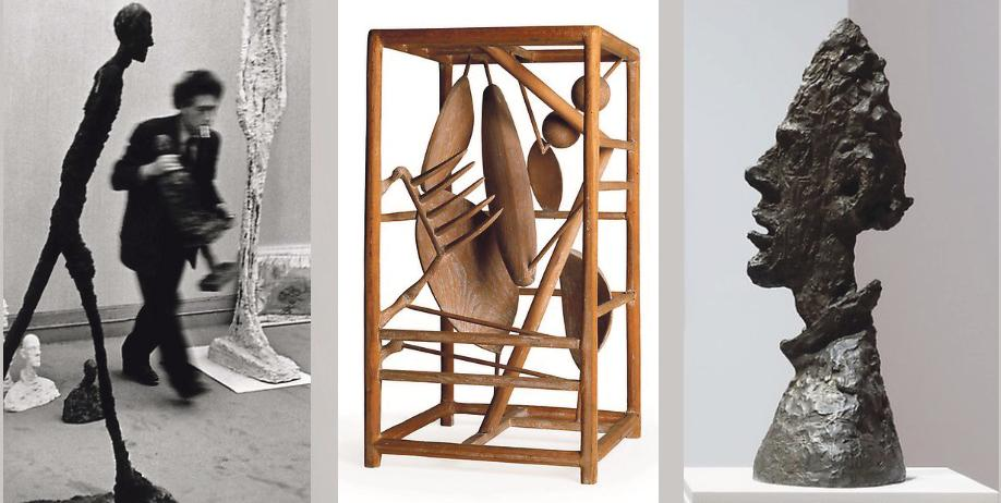 Alberto Giacometti och några av hans skulpturer.