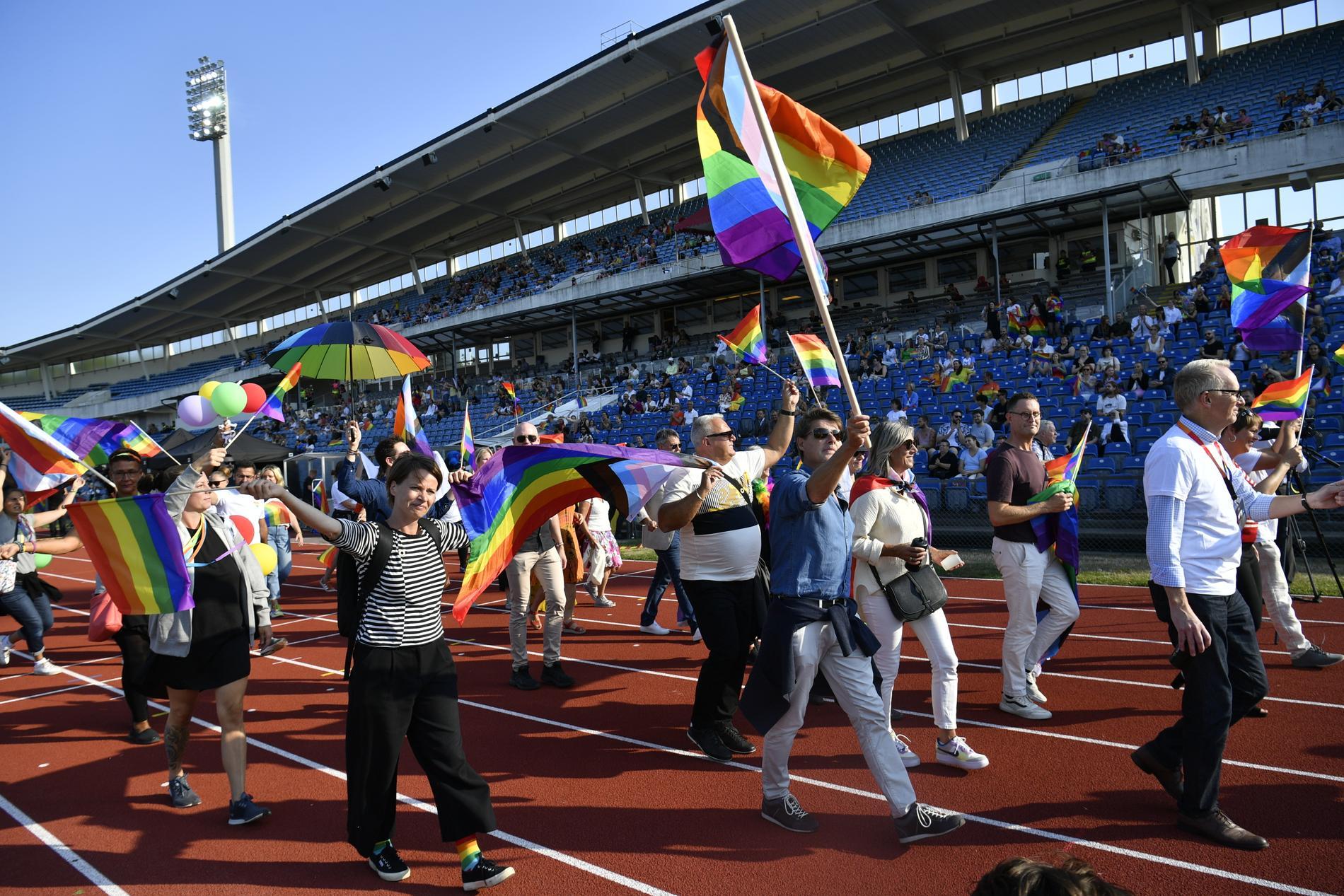 World Pride-paraden på Malmö stadion på torsdagen.