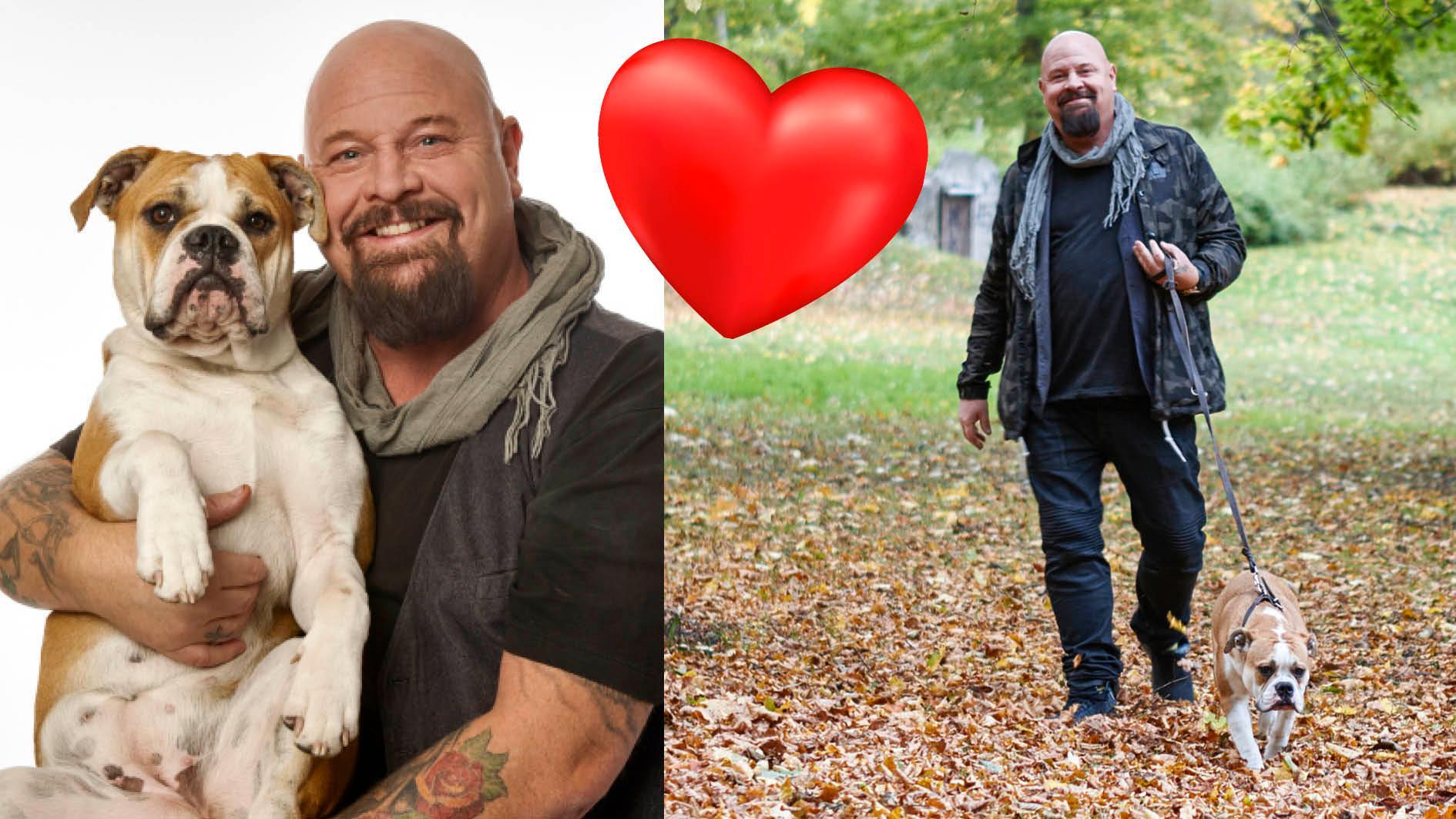 Iris trivs i husse Anders famn. När Anders jobbade ihop med Janet Jackson träffade han hennes english bulldog och föll pladask för den sköna personligheten.