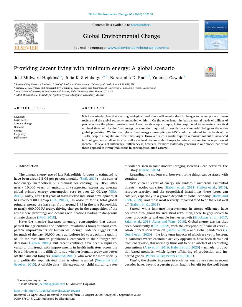 Global Environmental Change.