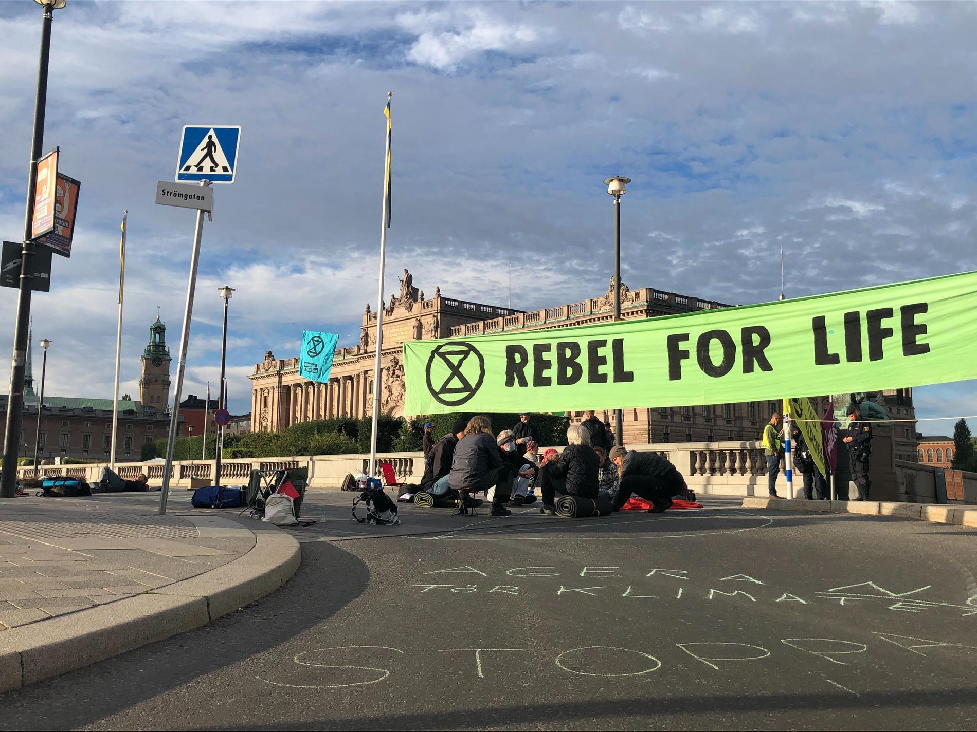 Aktivisterna är på Norrbro vid Stockholms slott. I bakgrunden syns riksdagshuset.