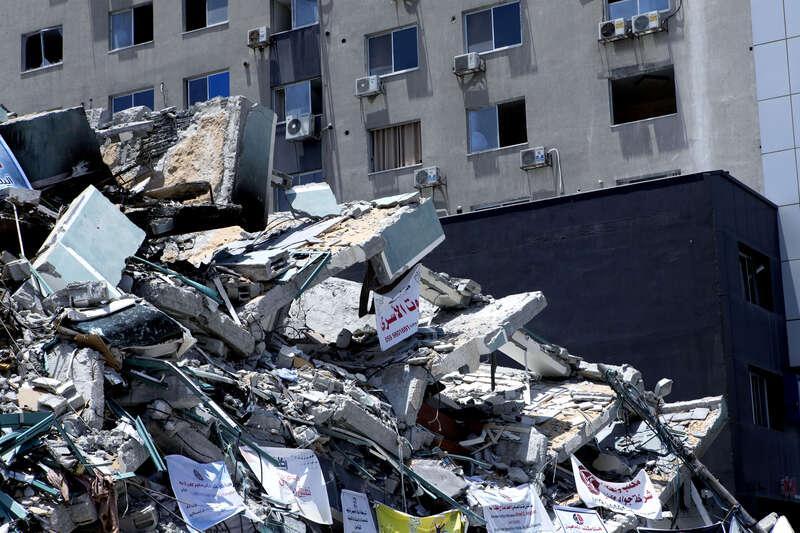 Byggnaden blev bombad av Israel.