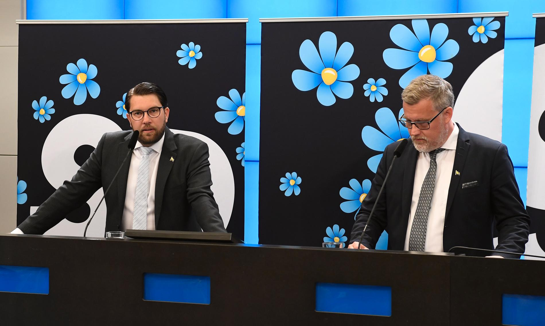 SD:s Jimmie Åkesson och Jonas Andersson.