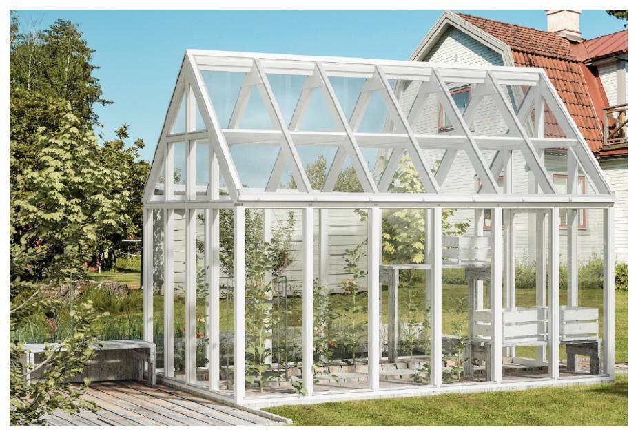 Det öppna intrycket i växthuset Växa bjuder in till både umgänge och odling.
