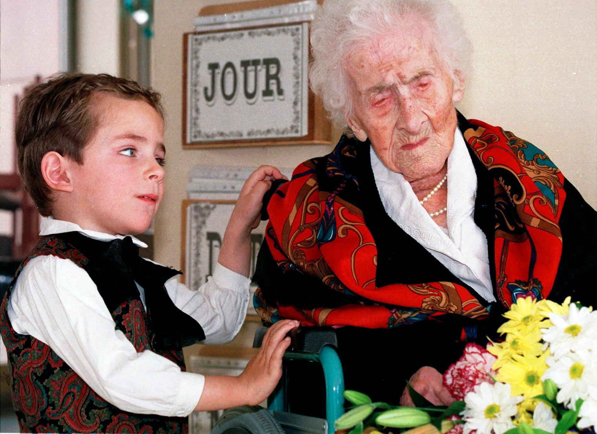 122-åriga Jeanne Calment, världens äldsta registrerade person, strax före sin död 1997. Arkivbild.