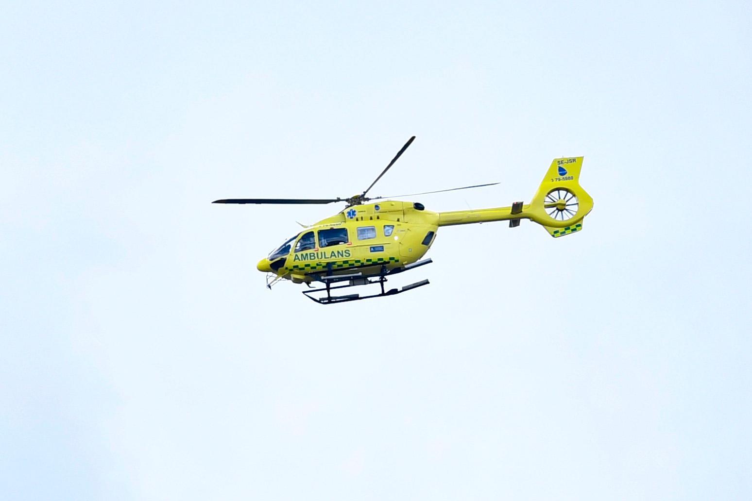 Ambulanshelikopter har landat på Bohus-Malmön. Arkivbild.