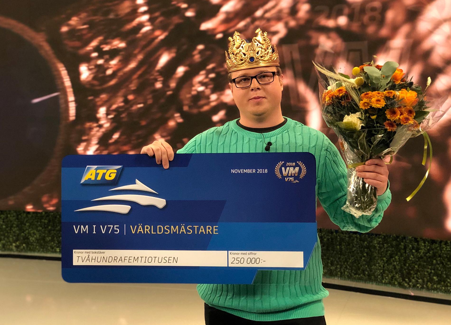 Rasmus Holmberg-Nilsson från Malmö vann VM i V75 i fjol.