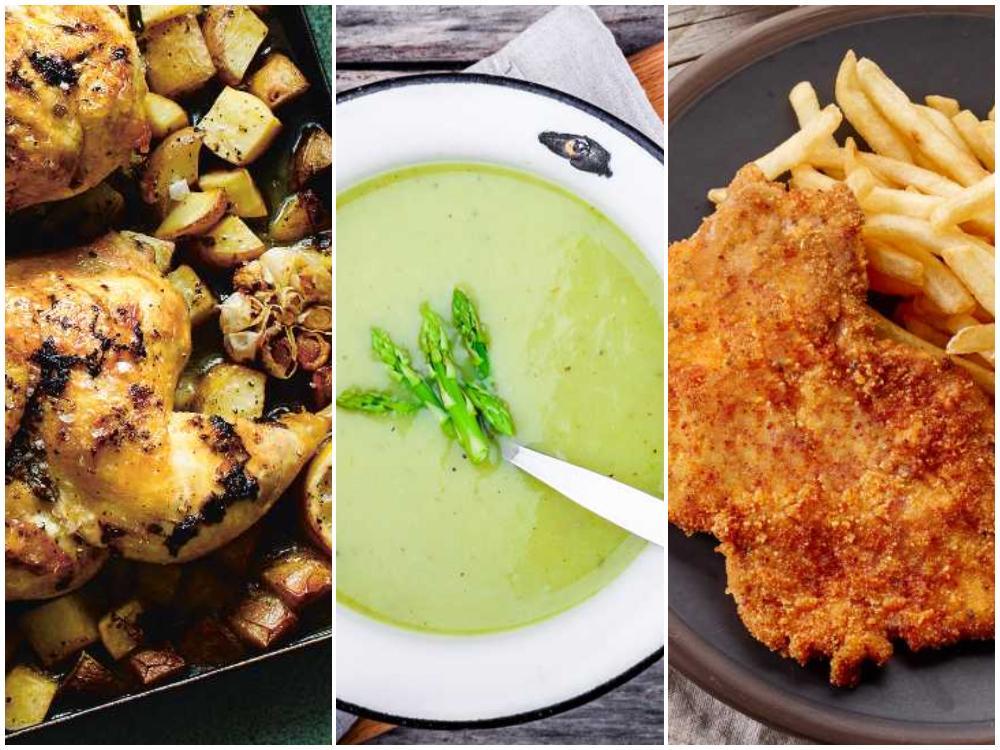 Kyckling i ugn, sparrissoppa eller schnitzel är enkla att laga med få ingredienser.