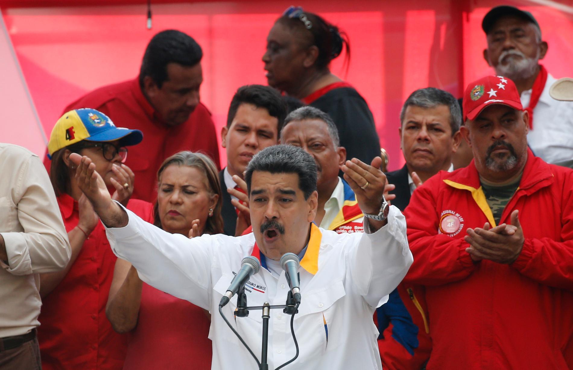 Venezuelas president Nicolás Maduro under ett tal till sina anhängare i våras. Arkivbild.