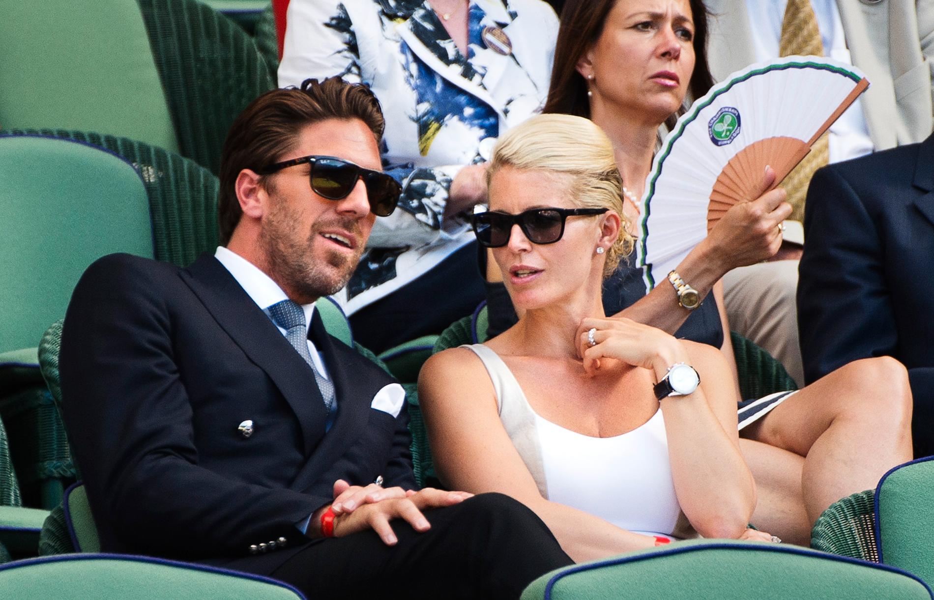 Henrik Lundqvist med sin fru Therese Andersson vid Wimbledon 2015.