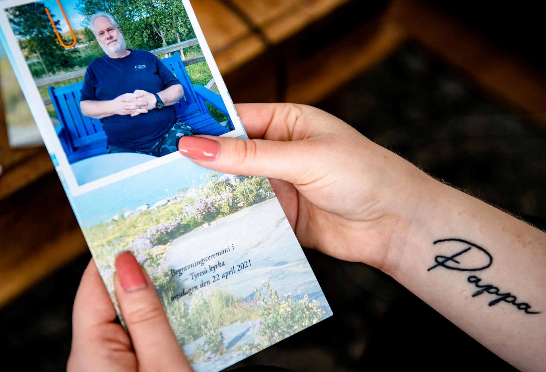 Pappa-tatueringen var bland det första Jessica gjorde efter att han gått bort.