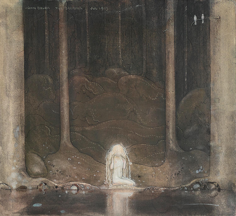 """""""Tuvstarr"""" från 1913, en av John Bauers mest kända målningar."""