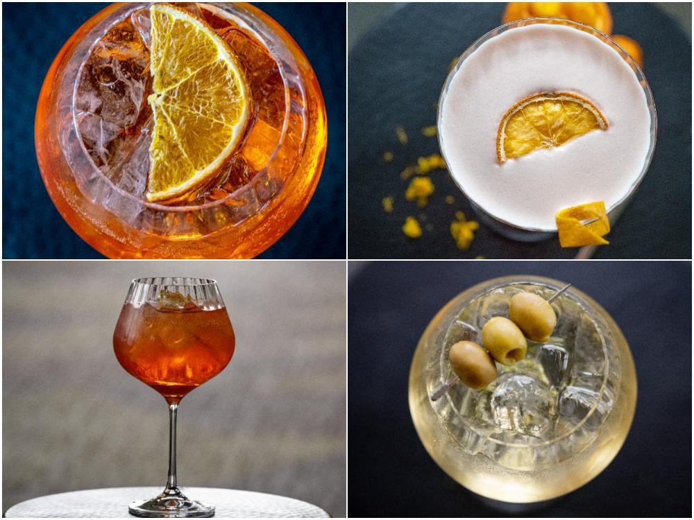 Aperol spritz, aperol sour och italicus spritz .