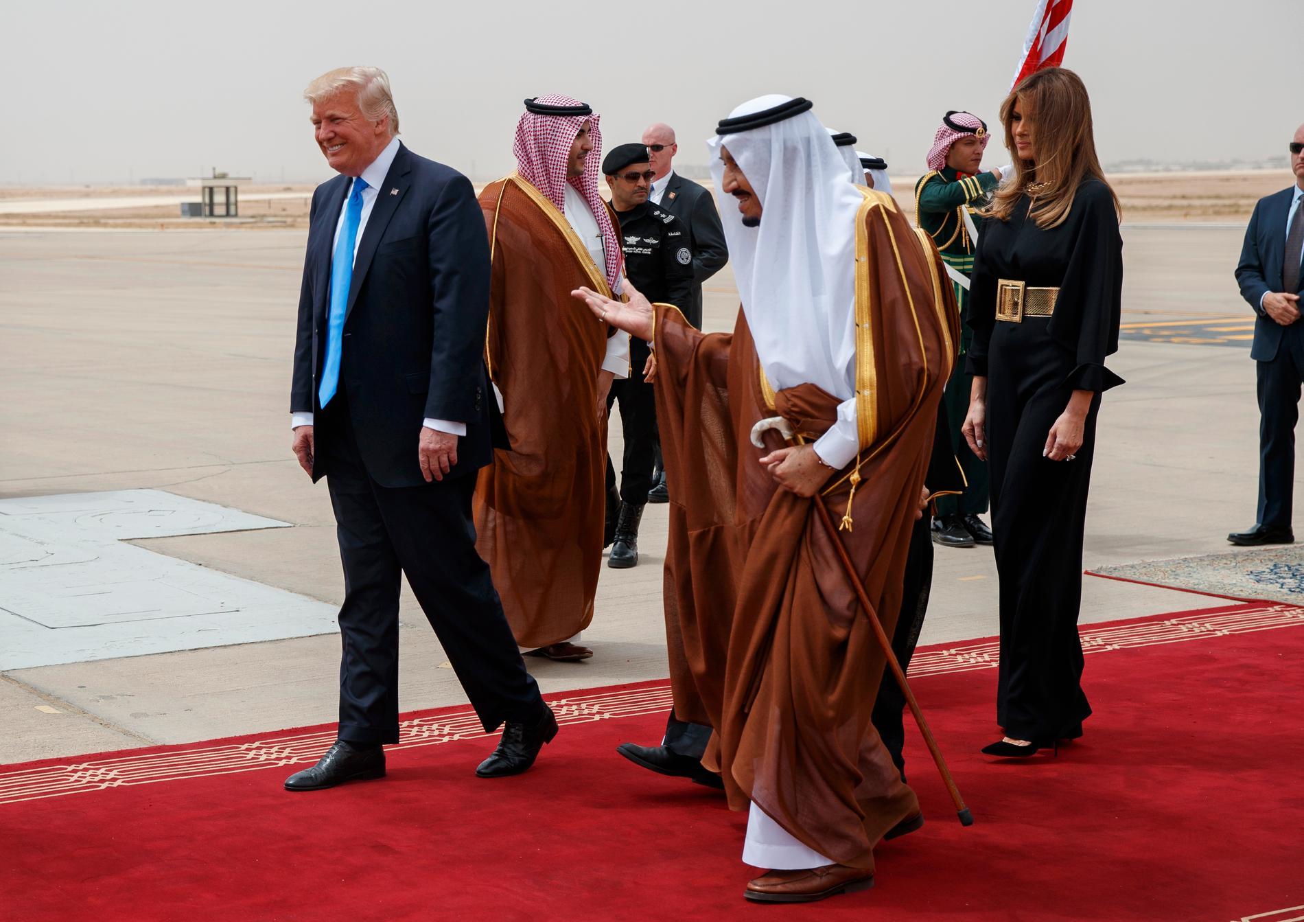 USA:s president Donald Trump tillsammans med Saudiarabiens kung Salman bin Abdulaziz al-saud.