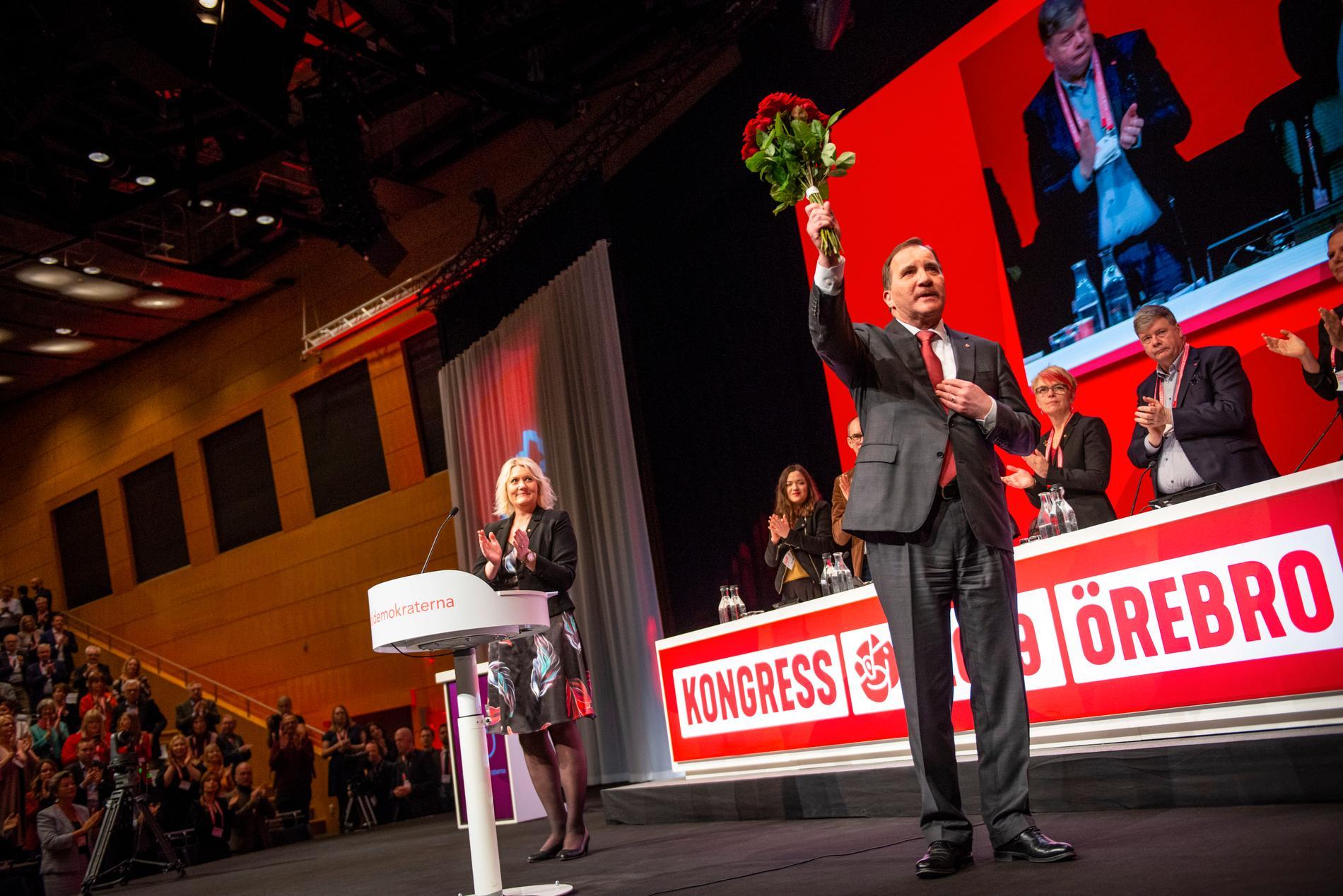 Socialdemokraternas partiledare Stefan Löfven (S) efter sitt tal på S-kongressen.