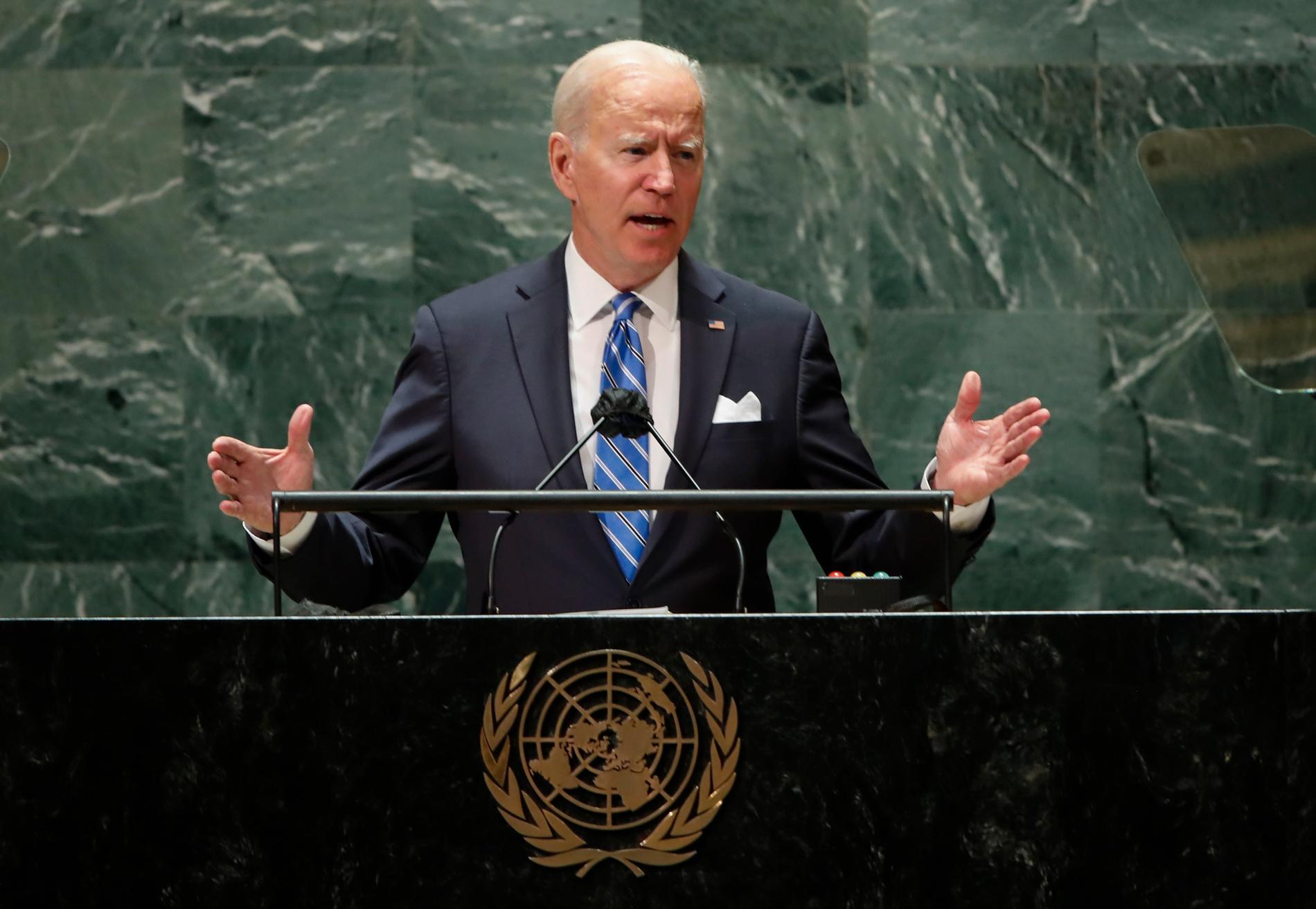 """USA:s president Joe Biden kallade klimatkrisen """"code red for humanity"""" när han talade i FN:s generalförsamling i tisdags."""
