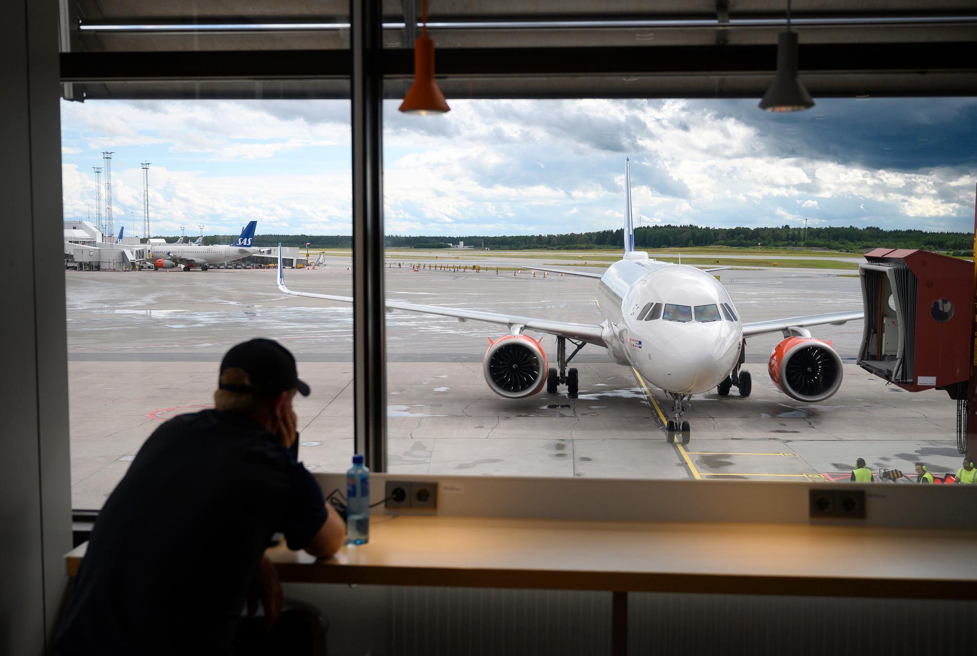 Flygplan på terminal fem på Arlanda.