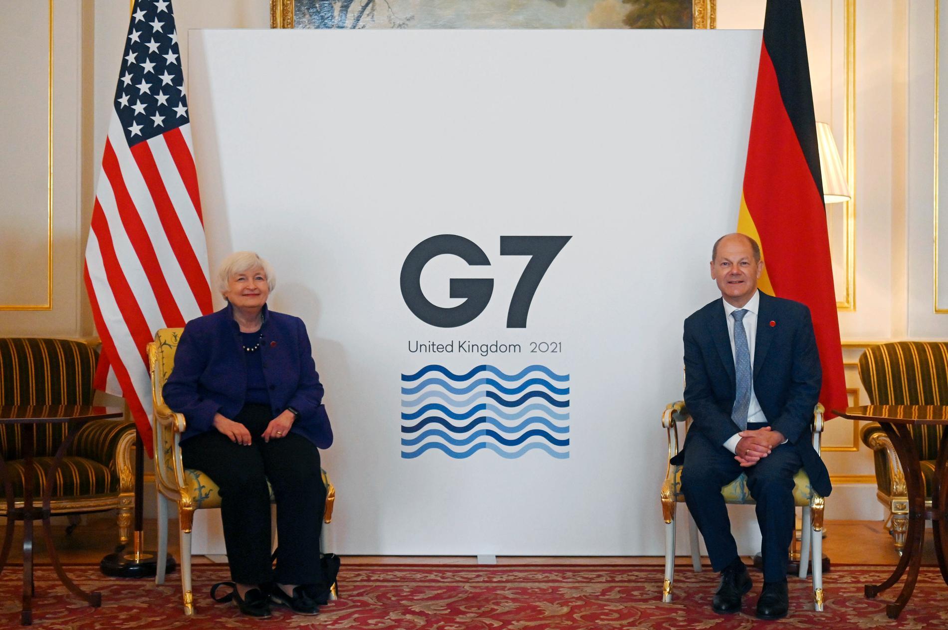 USA:s finansminister Janet Yellen och Tysklands dito Olaf Scholz möts i London.