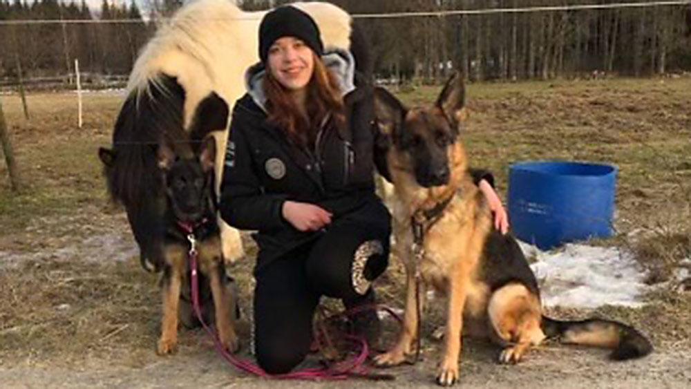 Jennie med hästen Sætur från Åboda samt hundarna Raxxa och Kema.