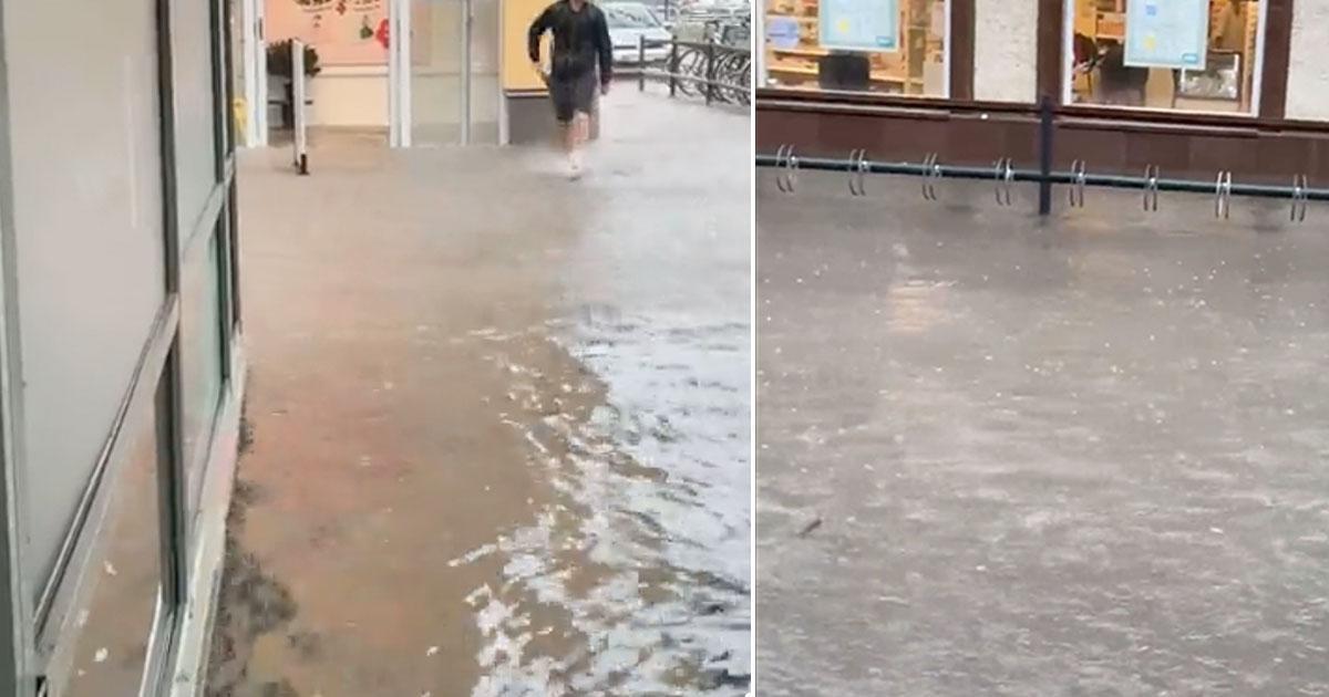 Kalmar svämmades över på kort tid på tisdagsförmiddagen.