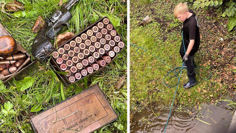 Maximilian Hellström har magnetfiskat i två år och det är inte första gången han hittar vapen i vattnet.