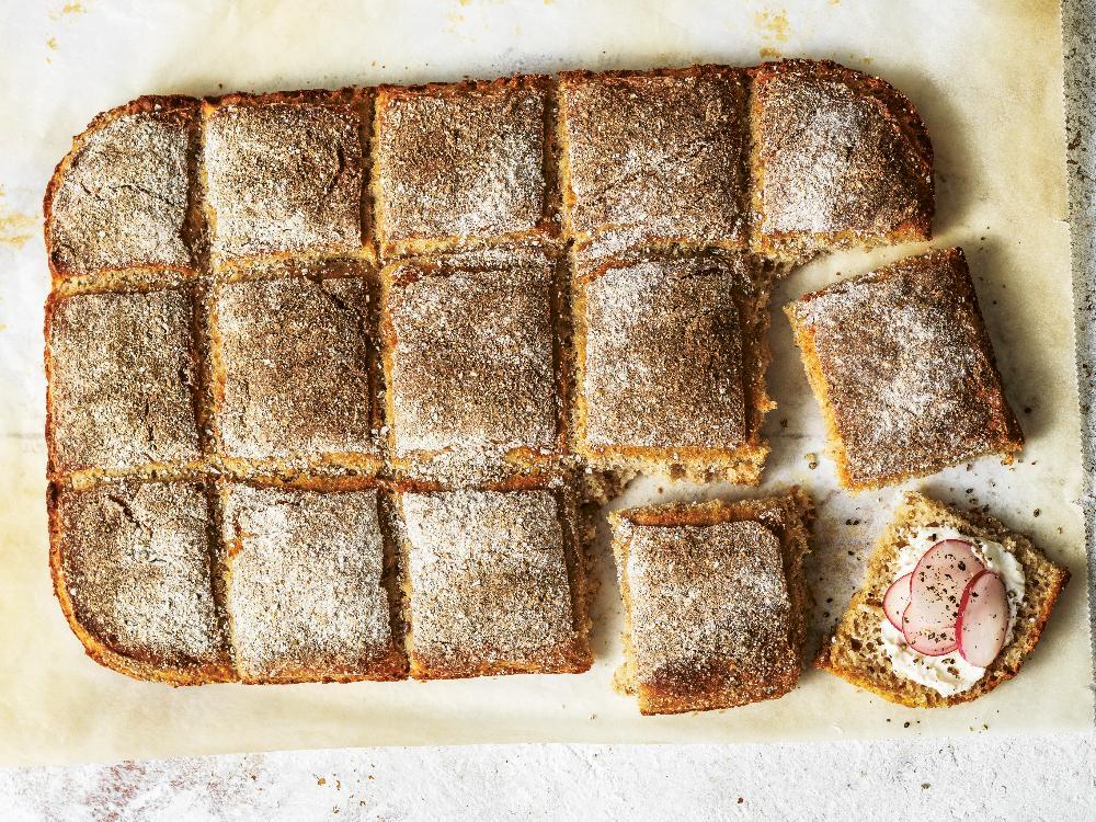 Brytbröd som du enkelt gör i långpanna.