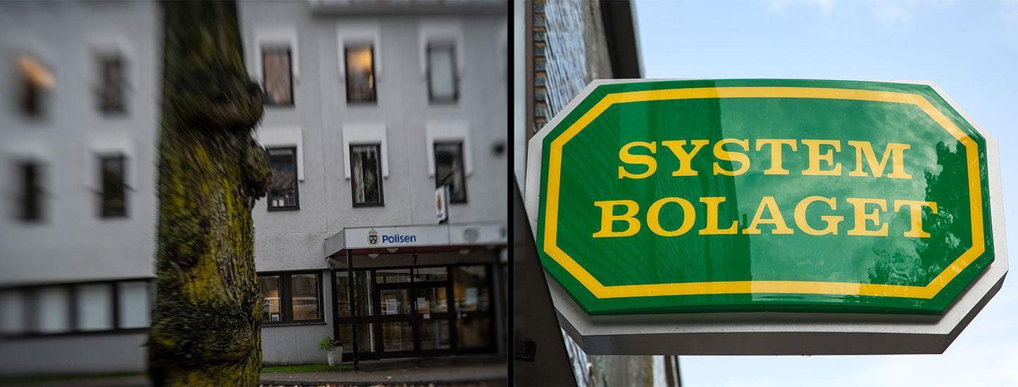 Polishuset i Skövde. Systembolaget. Arkivbilder.